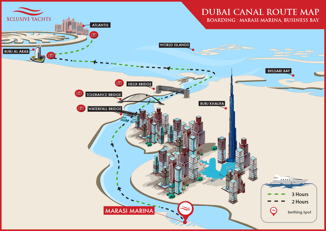 Dubai Water Canal Tour Route