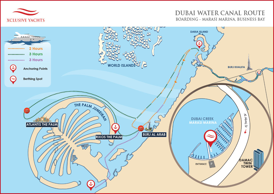 Dubai Water Canal Yachts Route