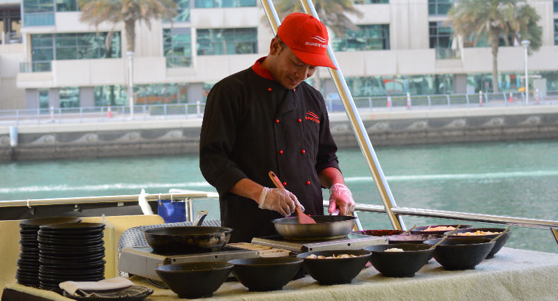 Dubai Dinner & Sunset Cruise - Live Cooking Station