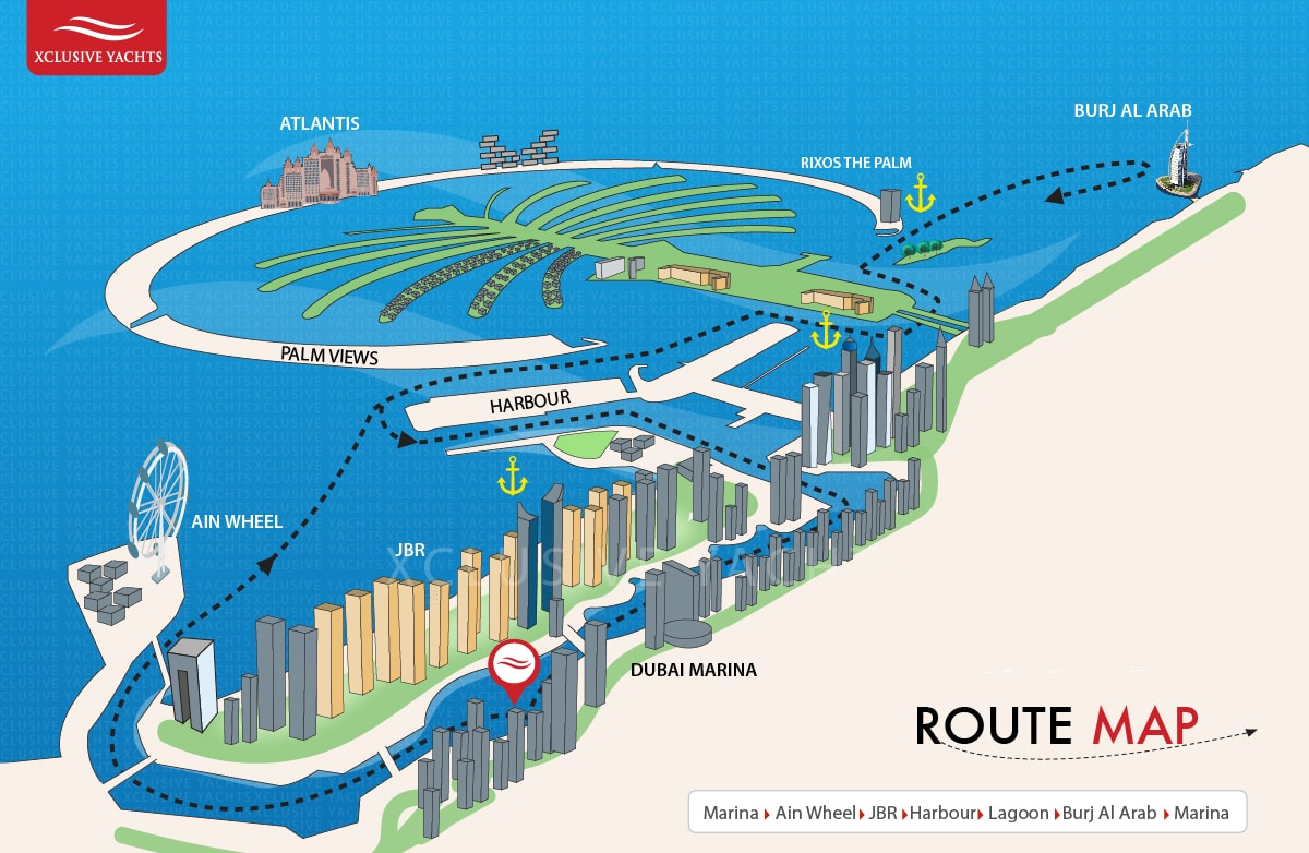 Dubai private yacht rental Harbour cruise map