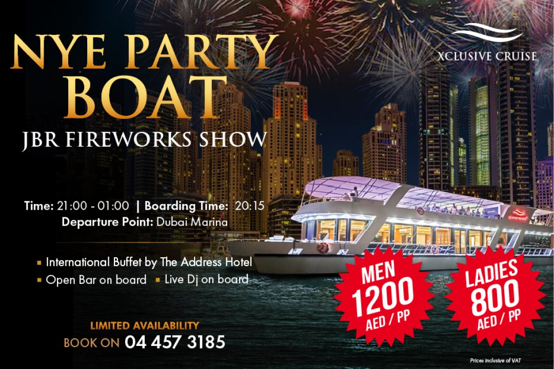 Celebrate NYE on board luxury yacht with Fireworks from only AED 350 per person