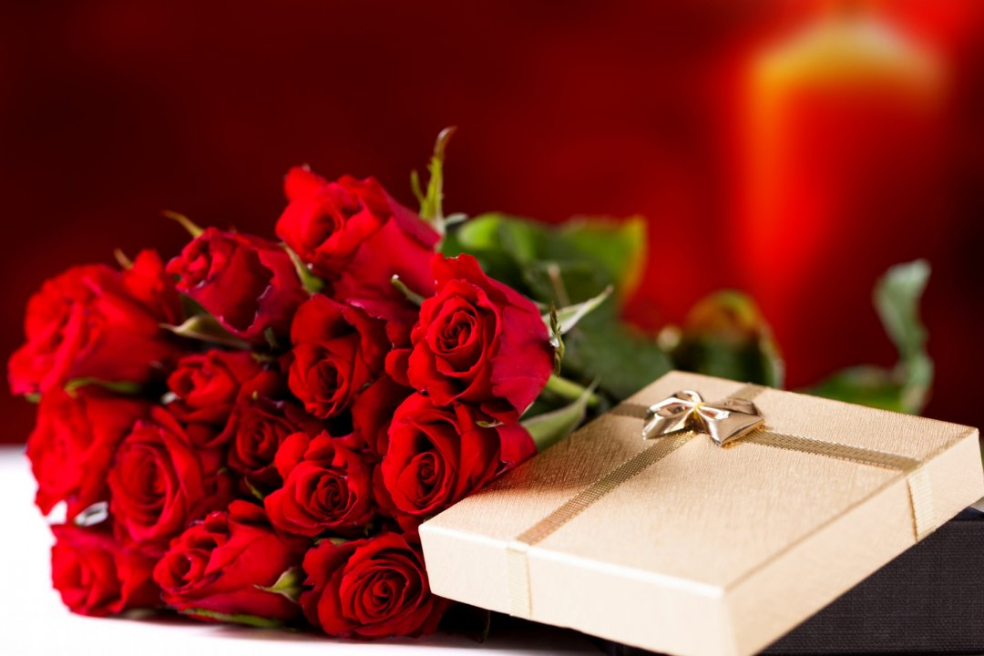 Bouquet of Red Roses and Box of Chocolates