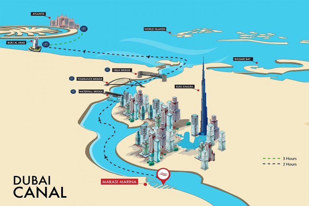DUBAI CANAL YACHT SHARE - ROUTE MAP