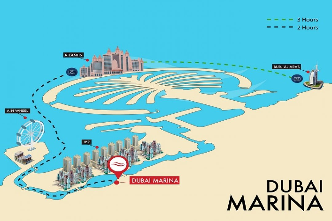 DUBAI MARINA YACHT SHARE - ROUTE MAP