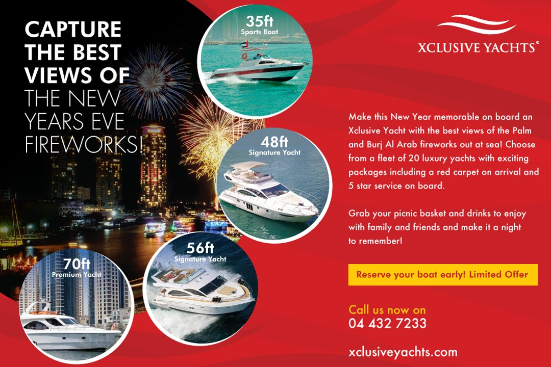 Xclusive Yachts presents New Years Eve Party Cruises that gives unrestricted views of the world famous Dubai fireworks.