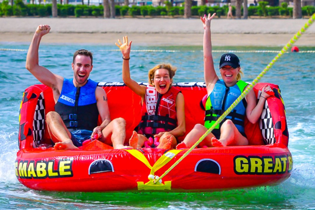 Compliment your charter with a thrill-seeking water ride. The best banana boat and donut ride in Dubai