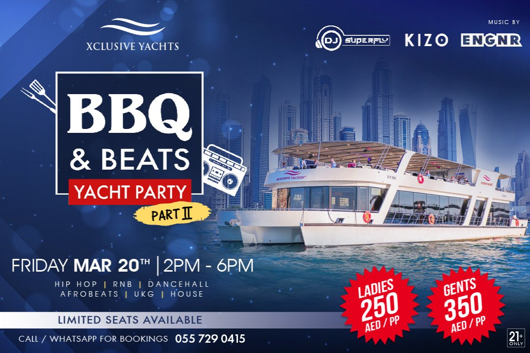 The biggest in Dubai's Friday Boat Party is back by popular demand! Sailing onboard Xclusive Yachts 125ft luxury houseboat this 20th of March from 2PM - 6PM.