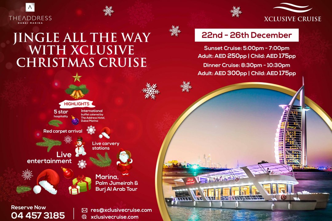 Special Christmas Dinner Cruise from the 22nd - 26th of December on board Xclusive Yachts