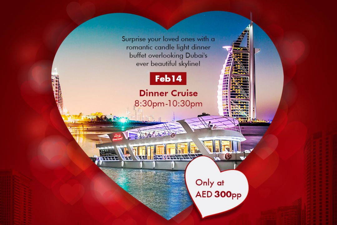 Valentines Day romantic candle light dinner on board Xclusive Cruise